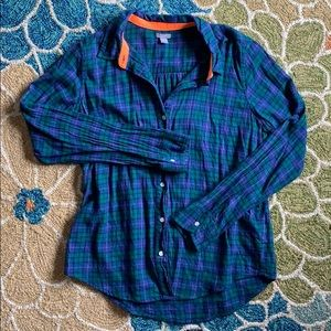 Aerie purple and green flannel top